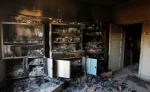 The interior of a burnt out government office is pictured in Haffeh